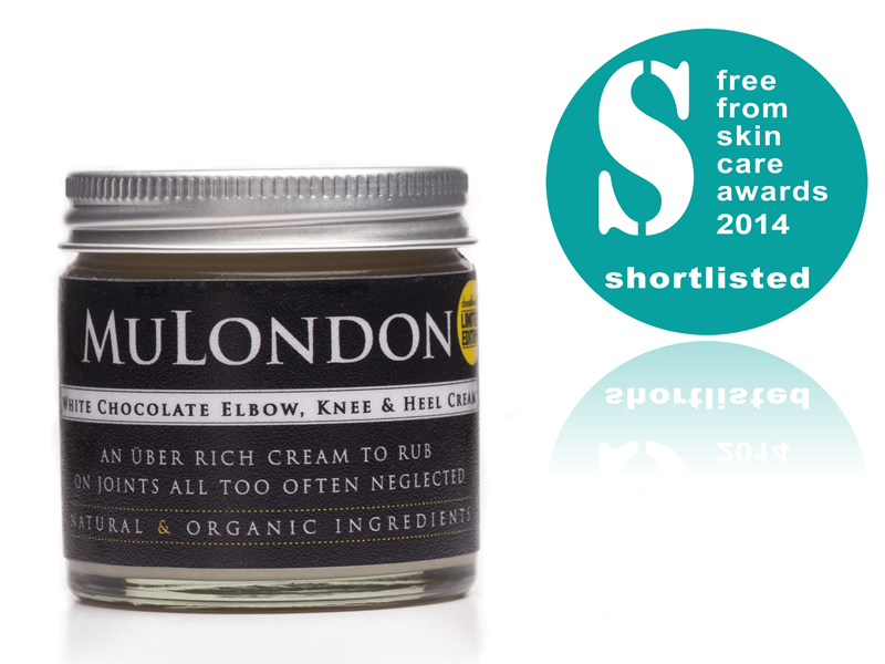 Shortlisted In The 2014 Freefrom Skincare Awards In The Hand, Nail And Foot Care Category: MuLondon Organic White Chocolate Elbow, Knee & Heel Cream